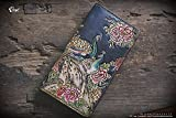 Peacock hand tooled/ hand carved wallet for women