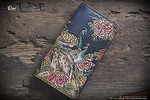 Peacock hand tooled/ hand carved wallet for women by Virgo Handmade Leather