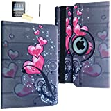 iPad Mini Case, JYtrend (R) Rotating Stand Smart Case Cover Magnetic Auto Wake Up/Sleep For iPad Mini 1/Mini 2/Mini 3 A1432 A1454 A1455 A1489 A1490 A1491 A1599 A1600 A1601 (Heart Flower)