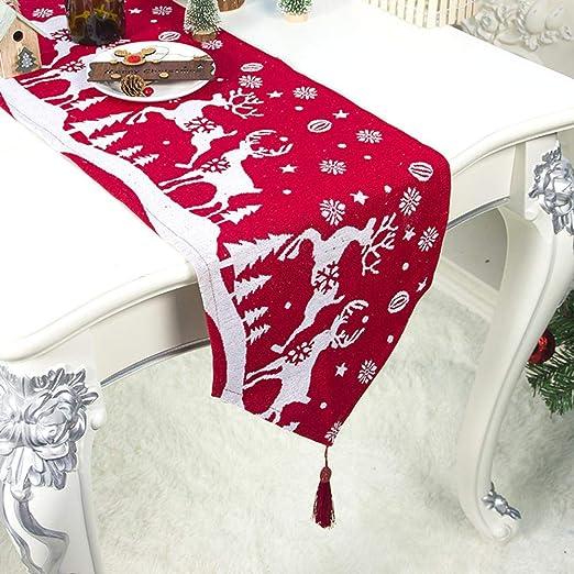 fridaymonga - Camino de Mesa de Navidad, Color Rojo y Blanco con ...