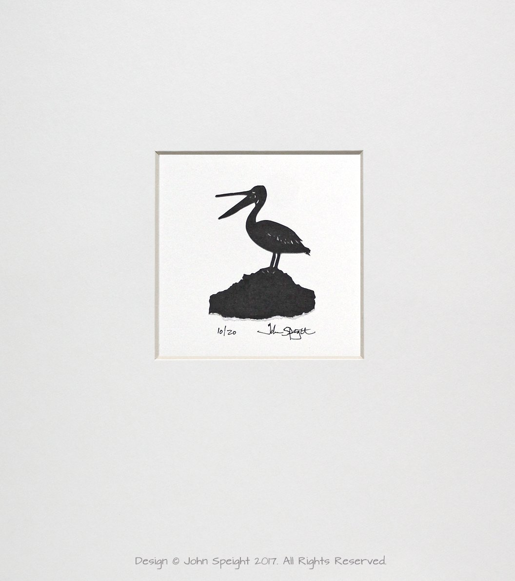 Pelican Original Signed Hand Cut Silhouette Papercut Art by John Speight - Gift for Him and Her