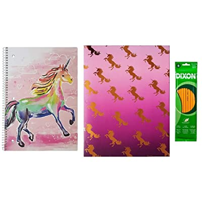 Unicorn – 3 Piece School Supply Set: 1 Wide Ruled Notebook,1 (2) Pocket Portfolio Folder with Gold Foil, and Pack of 8 Pencils: Toys & Games