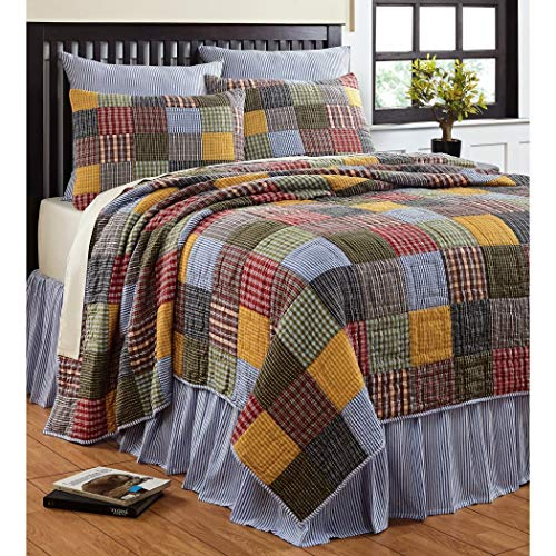 - 3 Piece Multi Color Madras Plaid Quilt Full Queen Set, All Over Patchwork Checkered Bedding, Tartan Check Patch Work Lodge Cabin Themed, Country Woven Pattern, Navy Blue Green Red Pink Yellow Brown