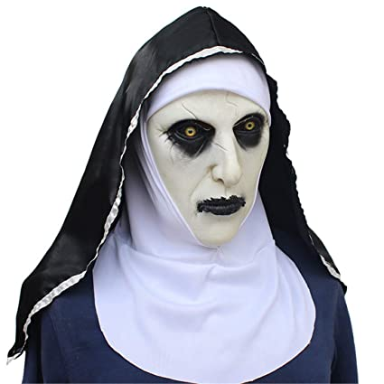VJUKUBWINE Halloween Decoration Horrified Nun Female Ghost Mask Costume Mask Cosplay Full Head Mask Latex Fire