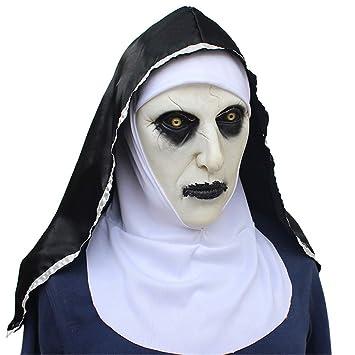 VUKUB Halloween Decoración Horror Monja Mujer Fantasma Máscara Traje Máscara Cosplay Máscara Completa Cabeza Látex Lobo