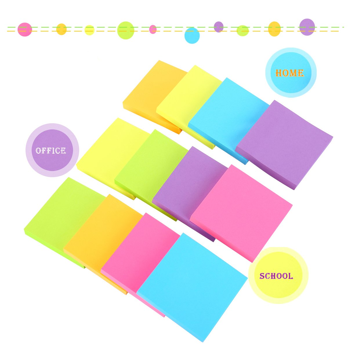 Sticky Notes, 3 in x 3 in, 12 Pads/Pack,100 Sheets/Pad, 6 Bright Colors Self-Stick Notes for Home,Office, School, Easy Post. by ERBAO (Image #5)