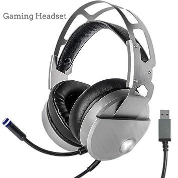 CHESUN PC Gaming Auriculares Estéreo Envolvente, Suave Memoria Orejeras, Cancelación De Ruido, Micrófono USB Luz LED para PS4/Xbox Uno/Nintendo ...