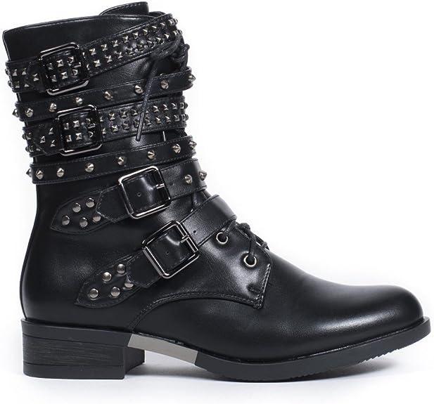 Ideal Shoes Bottines à Lacets et Brides cloutées en