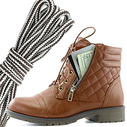 Dailyshoes Donna Militare Allacciatura Fibbia Stivali Da Combattimento Caviglia Alta Esclusiva Tasca Per Carte Di Credito, Marrone Scuro Grigio Tan Pu