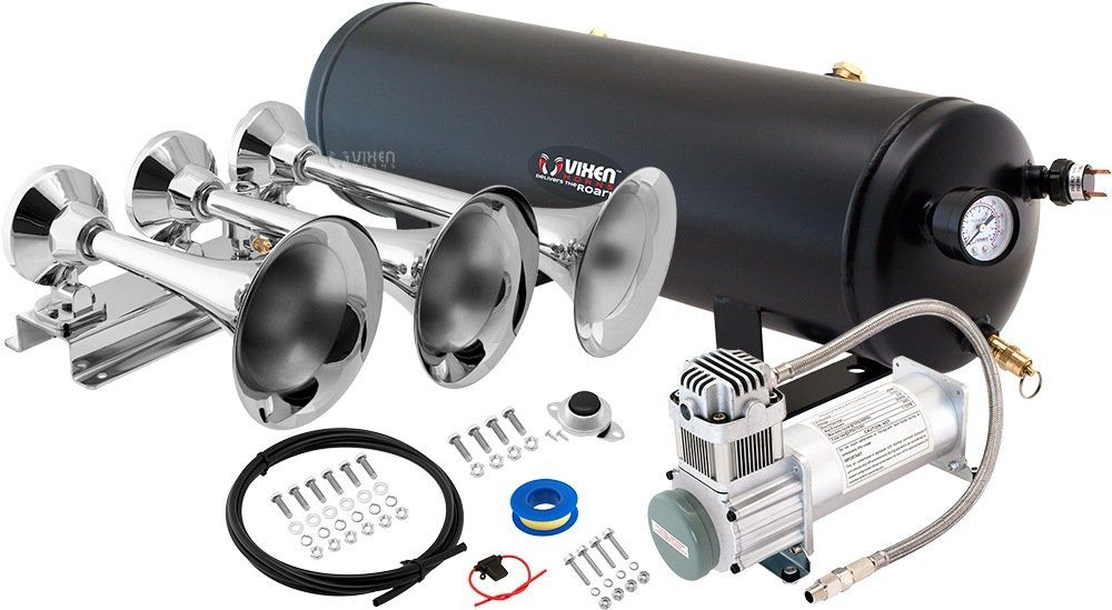 Vixen Horns Loud 152dB 3/Triple Chrome Trumpet Train Air Horn with 3 Gallon Tank and 200 PSI Compressor Full/Complete Onboard System/Kit VXO8330/3418
