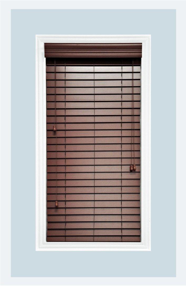 Delta Blinds Supply Custom-Made, Faux Wood Horizontal Window Blinds, 2 Inch Slats, Inside Mount, Chestnut (Medium Brown,) Inside Window Size: 22'' W x 36'' L
