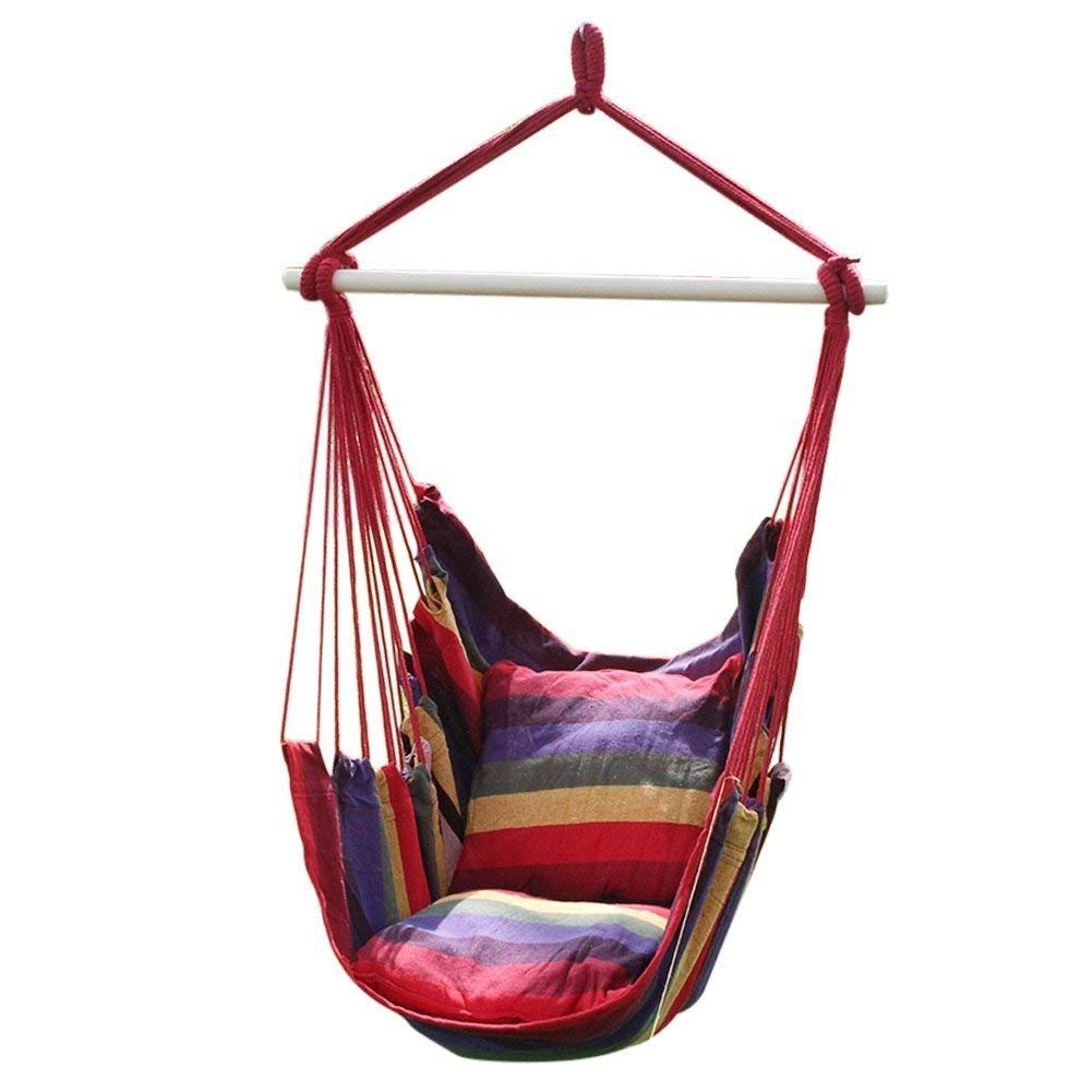 Hanging Hammock Seat, Garden Patio Porch Hammock Chair Swing Chair with 2 Seat Cushion for Any Indoor or Outdoor Spaces(Random Color) Steerfr