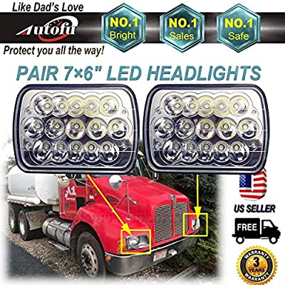 LED Headlight For Kenworth T300 1997-2010 (Fits Pair 7x6 / 5x7 Inch Sealed Beam Rectangular Headlamp) 45W H6014 / H6052 / H6054 / 6054 High Low Beam Replacement Kit Super Bright H4 3 Pins