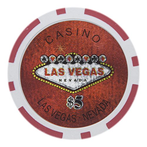 Brybelly Las Vegas Casino Poker Chip Heavyweight 14-gram Clay Composite – Pack of 50 ($5 Red) Las Vegas Poker Chips Laser