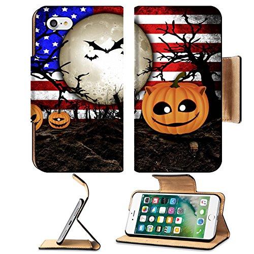 Liili Apple iPhone 7 Flip Pu Leather Wallet Case Halloween Festival and USA Flag Background iPhone7 IMAGE ID 31510480 (Ikea's Halloween)