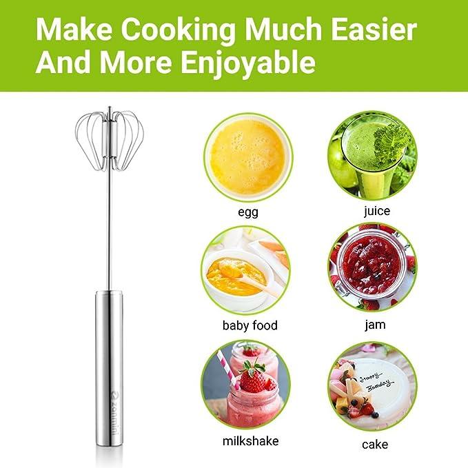 Batidora de acero inoxidable para batidora de huevos para el hogar, herramienta versátil para batidora de huevos, espuma, mezclador de mano - utensilio de ...