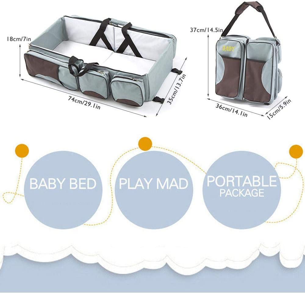 Diaper Bag 3 in 1 Portable Bassinet Cot Foldable Crib Bags for Infant Multi-Function Nappy Changing Station for 0-12 Months Tawcal Baby Travel Bed Bag