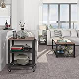 SONGMICS 2-tiered End Table Square-Frame Side Table with Metal Grate Shelf Vintage ULET41X Variant Image