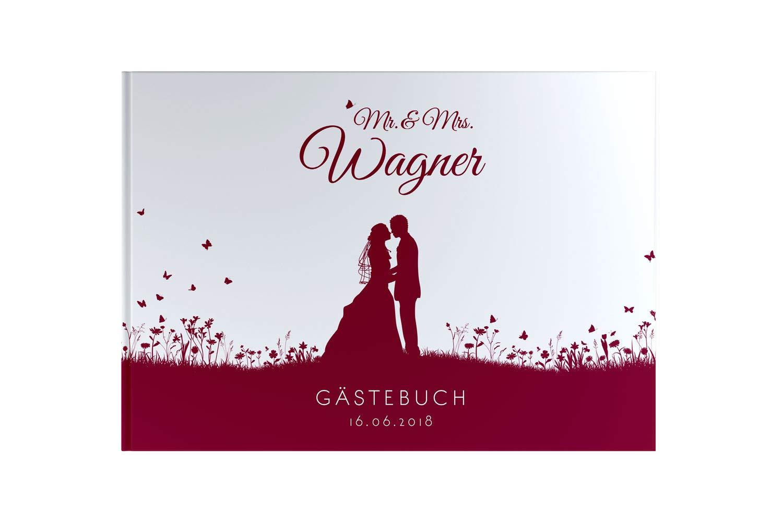 DeinWeddingshop Gästebuch Hochzeit mit Fragen – Leaf Couple – PERSONALISIERT – Hochzeitsalbum Hochzeitsbuch Hochzeitsgästebuch (weinrot)