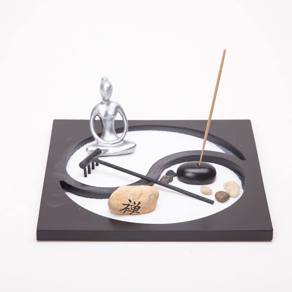THY COLLECTIBLES Asian Japanese Feng Shui Sand Zen Garden Yinyang & Incense HY172