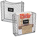 MyGift Metal Wire Wall Mounted Magazine, File & Mail Holder Basket w/ Chalkboard Label, Set of 2, Gray Review