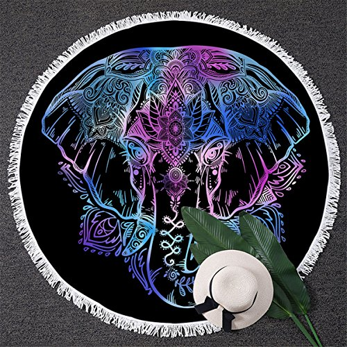 BlessLiving Elephant Beach Towel, Watercolor Neon Lotus Flower Circle Beach Towels, Black Purple Blue Round Yoga Mats (No Text, 59 inch) (Beach Elephant)