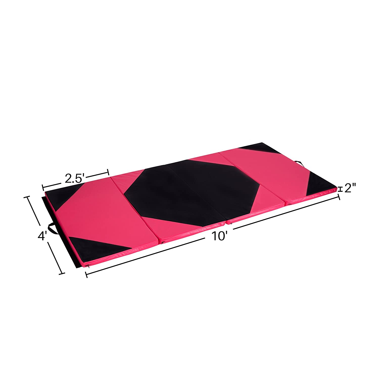 Cloud Mountain 4x10x2 Gymnastics Mat Tumbling Mat Foldable Thick Panel Fitness Exercise Gym Mat Handle Compatibility Side Connection Tape Aerobics Yoga Cheerlanding Stretching Multi Color