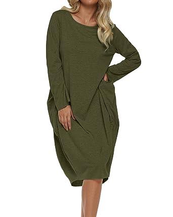 edfc0e17411 ZANZEA Women Plus Size Dress Solid Color Long Sleeve Round Neck Pockets T  Shirt Dress Army