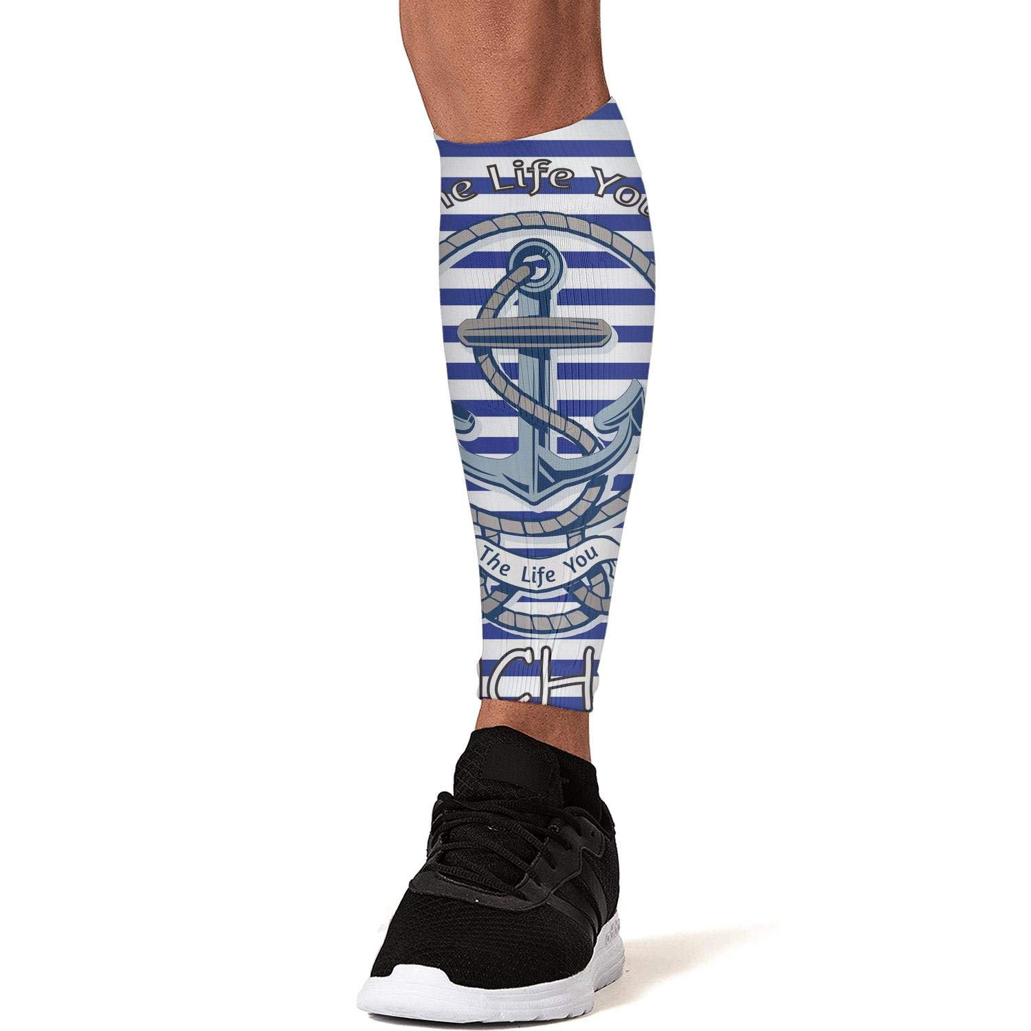 Smilelolly blue-striped-Nautical-Anchor Calf Compression Sleeves Helps Calf Guard Leg Sleeves for Men Women