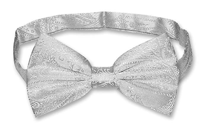 ed6446a4ca7b Image Unavailable. Image not available for. Color: Vesuvio Napoli BOWTIE  Silver Grey Paisley ...