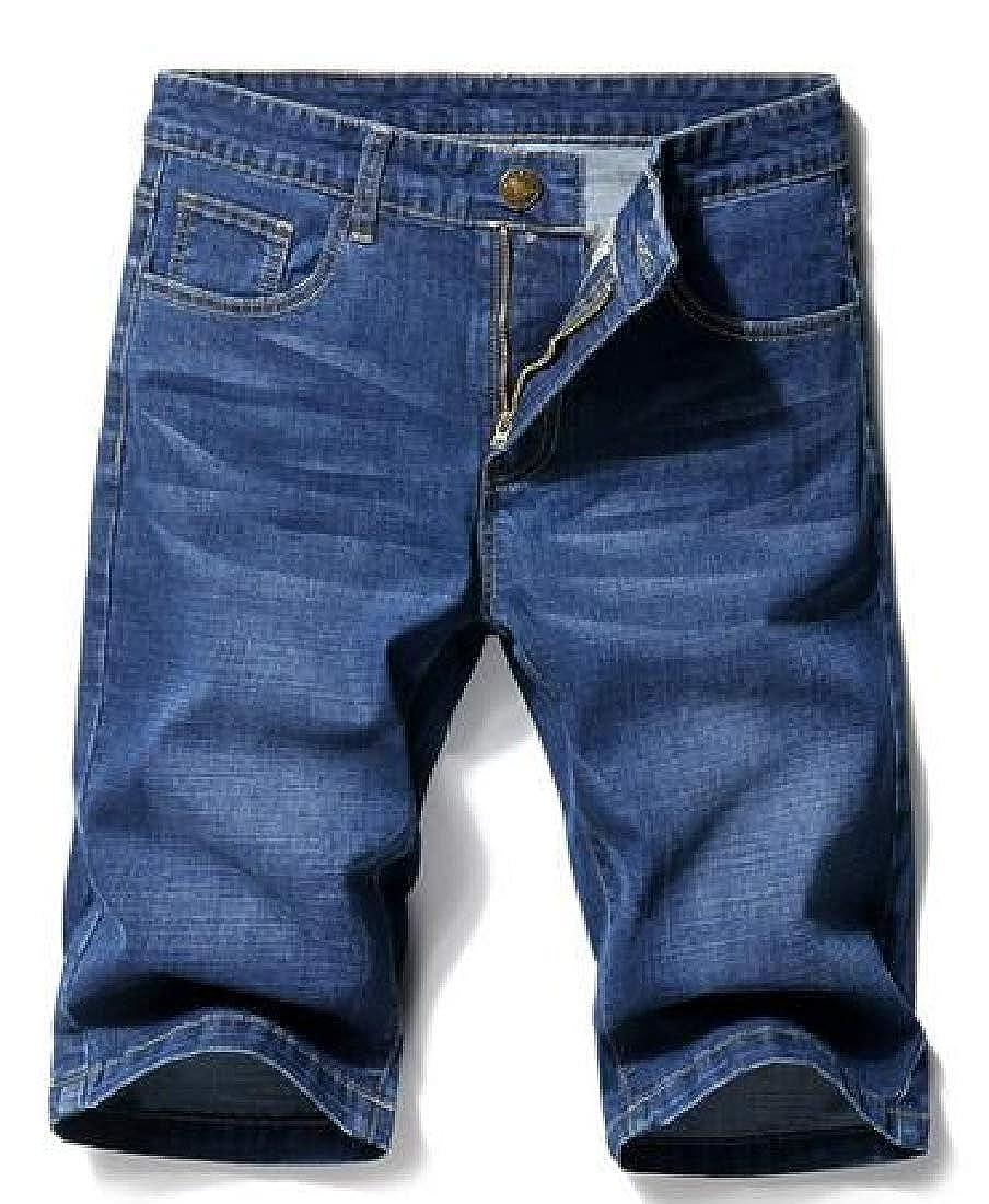 YYG Mens Lightweight Stretch Slim Loose Fit Summer Denim Shorts Jeans