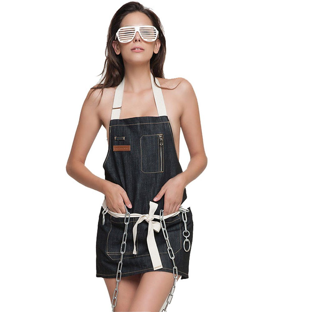 Hense Unisex Thick Sleeveless Personality Denim Bib Apron , Soft, Adjustable and Ventilated Professional for Kitchen, Garden, Pottery, Cooking, Coffee Service and More Activities, Handmade and Simple + Concise Design HSW-022-02(Indigo Blue )