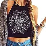 Womens Sleeveless Halterneck Tank Tops, Mandala Print Hanging Neck Vest Blouse T-Shirt Black