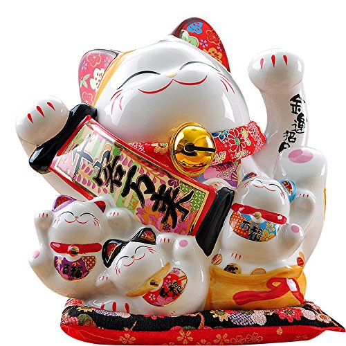 Large Size Ceramic Thriving Business Maneki Neko Lucky Cat(Beckoning Cat),Best Gift for Business Opening,Feng Shui Decor Attract Wealth and Good ()