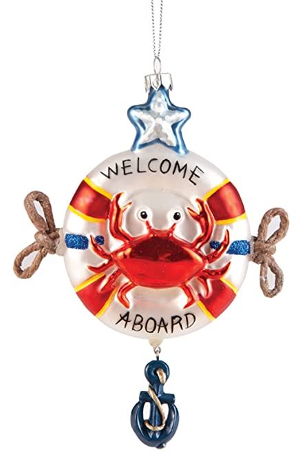 8674adf1705d Amazon.com  Red Crab in a Life Saver Welcome Aboard Holiday Glass 6 ...