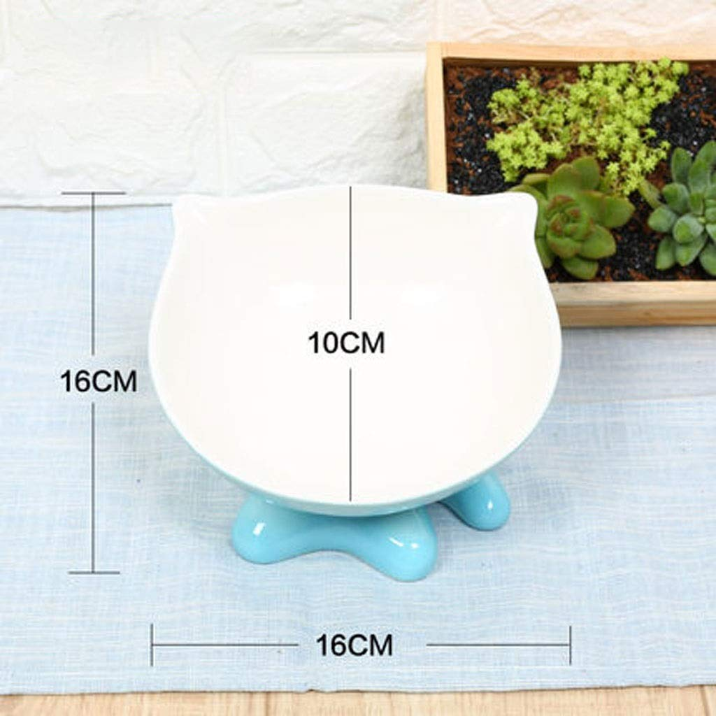 bluee BMSNDD Cat Bowl Oblique Mouth Flat Face Cat Bowl Cat Food Bowl Ceramic Pet High Bowl Cat Rice Bowl Cute Water Bowl (color   Pink, Size   A)