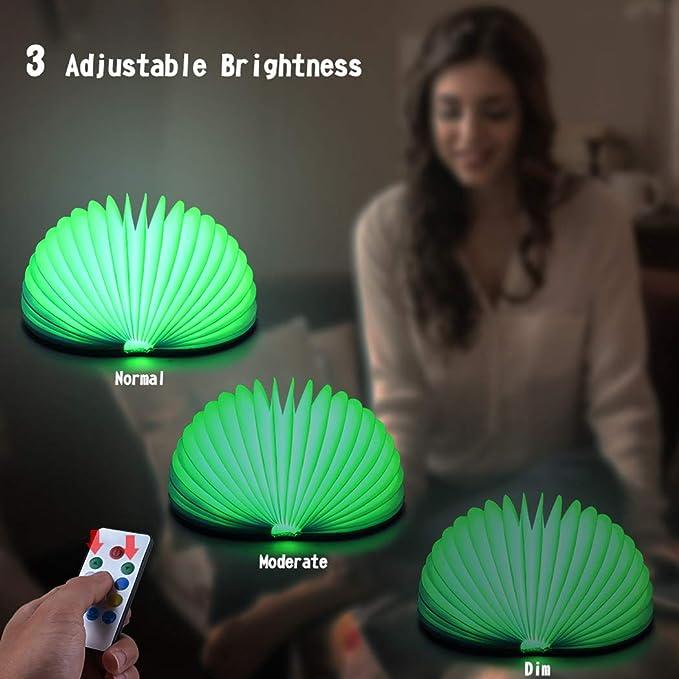 Faltbare LED Buchleuchte Qoosea Wireless Stimmungsbeleuchtung USB Wiederaufladbare Folding Book Lamp Fernbedienung mit Dimmer Magic 7 Farben Changeable Buch Nachtlicht Nachttischlampe
