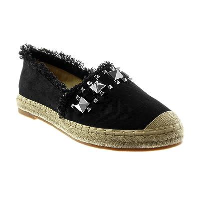 Angkorly Damen Schuhe Espadrilles Sandalen - Slip-on - Nieten - Besetzt - Ausgefranst - Seil Blockabsatz 2.5 cm - Schwarz LX1235 T 40 q5Q1nnGgSe