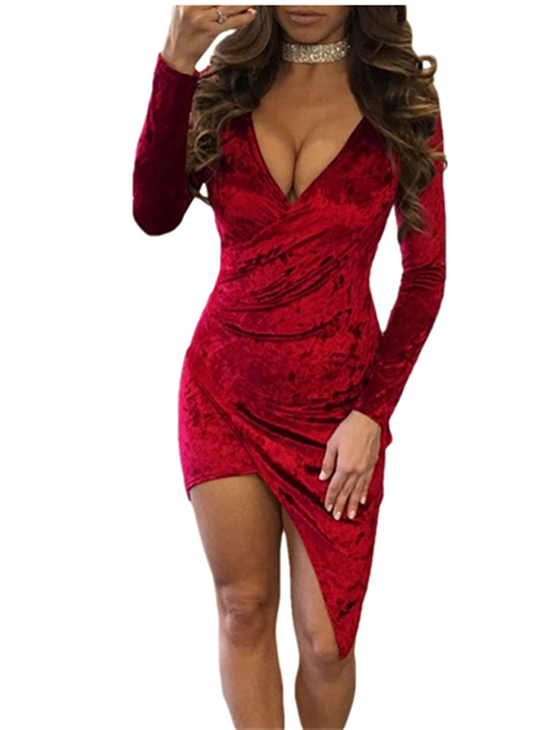 Mrs Spicy 2 Colors Crushed Velvet Asymmetric Wrap Bodycon Dress S,M,L