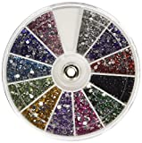 CJESLNA Rhinestones 2400 Piece 12 Color Nail Art Nailart Manicure Wheels