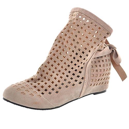 UH Botas Verano Mujer Planos Sandalias Caladas Zapatos