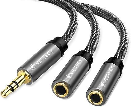3,5mm Klinke Stecker auf 2x 6,35mm Klinke Buchse Y-Adapter Splitter