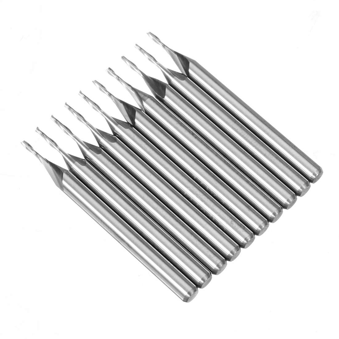 Carbide Milling Bits Double Flutes Spiral Carbide Flat Nose End Mill CNC Router Bit 1mm Cutting Dia. TranRay 1//8 Shank Dia