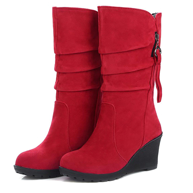790cfb309 Botas de tacón de cuña para mujer Odema Slip On Mid Calf Slouch Bootie rojo