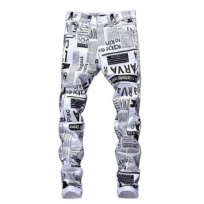 7c00f7a126 Huixin Jeans Hombres Hombres Mediados De La Cintura Carta Moda Recta De  Impresión Pantalones Casuales Jeans Slim Fit Stretch Painting Jeans Pants   ...