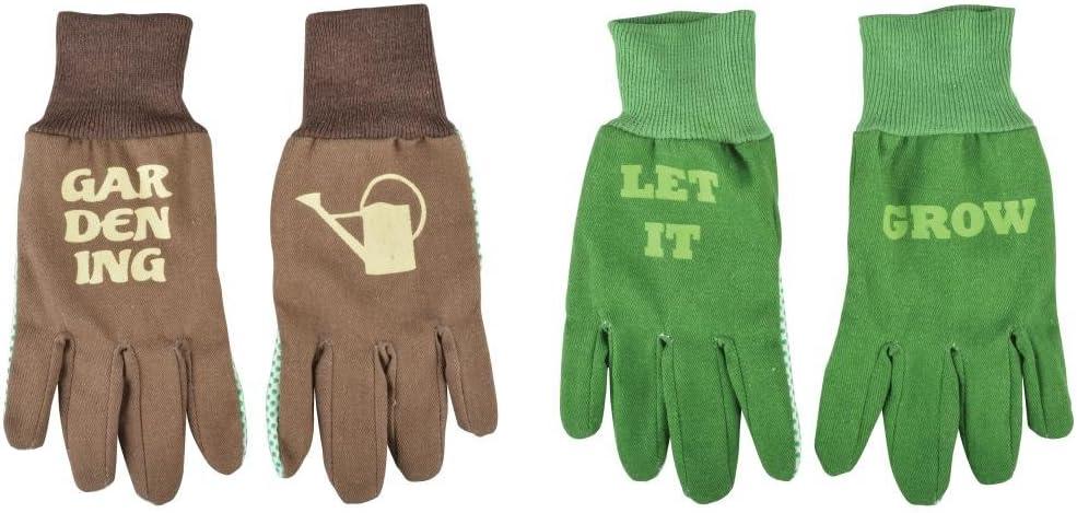 """Esschert Design Handschuhe mit Text in braun und gr/ün 13 x 1 x 26 cm mit /""""Gardening/"""" und Gie/ßkanne Sortiert mit Bund mit /""""LET IT Grow/"""""""