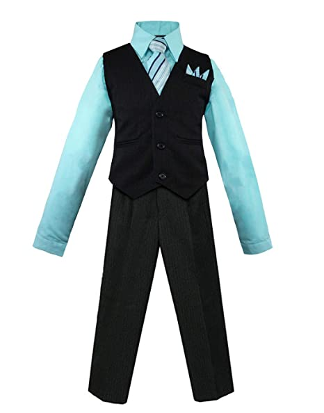 Luca Gabriel Toddler Boys 5 Piece Slim Fit Formal Dress Suit Set with Tie and Vest