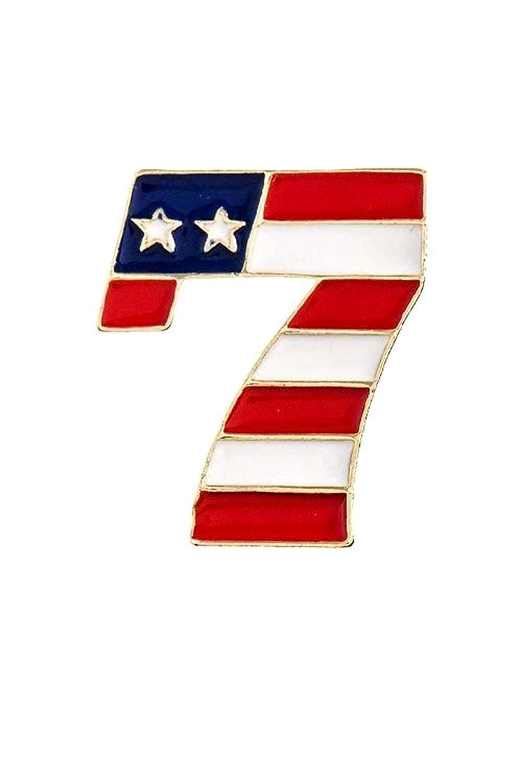 Fashion Trendy Patriotic AMERICAN FLAG LUCKY 7 BROOCH For Women AZFJBR048