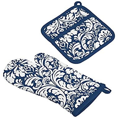 DII 100% Cotton, Machine Washable, Everyday Kitchen Basic, Damask Printed Oven Mitt and Pot Holder Gift Set, Nautical Blue