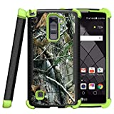MINITURTLE Case Compatible w/ LG Stylus 2 Plus Case, LG Stylo 2 Plus Cover [Shockwave Armor] Green Silicone Slim Fitted Heavy Duty Stand Defender Case Hunters Tree Camouflage